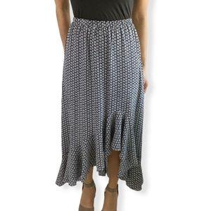 Max Studio Ruffle Trim Print High/Low Skirt XS